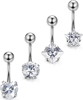 Orazio 3-4Pcs 14G Stainless Steel Belly Button Rings Cubic Zirconia Navel Bars Body Piercing