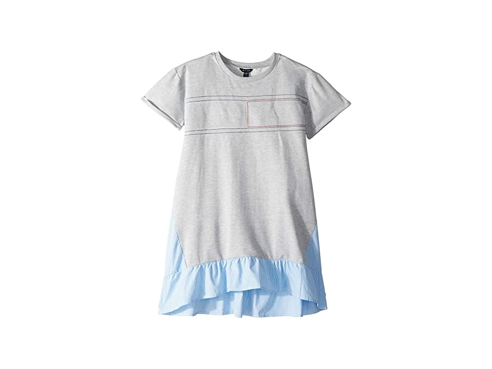 Tommy Hilfiger Kids Mixed Media Dress (Big Kids) (Pearl Heather) Girl