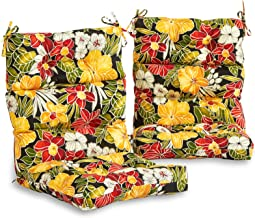 South Pine Porch AM6809S2-ALOHA-BLACK Aloha Black Floral Outdoor High Back Chair Cushion, Set of 2