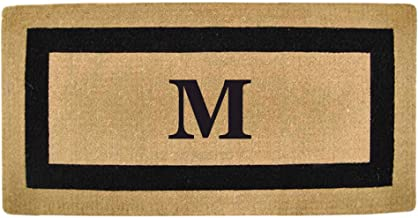Nedia Home Single Picture Black Frame Heavy Duty Coir Doormat, 36 by 72-Inch, Monogrammed M