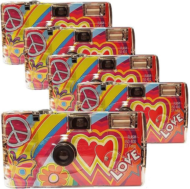 Photo Porst Rainbow Kult - Cámaras desechables (5 unidades 27 fotos cada una con flash) color rojo