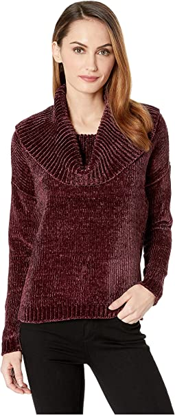 Long Sleeve Velvet Cowl Sweater