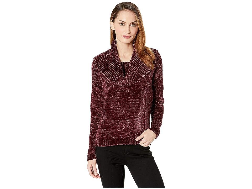 MICHAEL Michael Kors Long Sleeve Velvet Cowl Sweater (Cordovan) Women