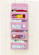 Simplehouseware Over Door/Wall Mount 4 Clear Window Pocket Organizer, Pink