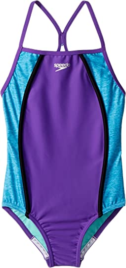 Heather Splice One-Piece Swimsuit (Big Kids)