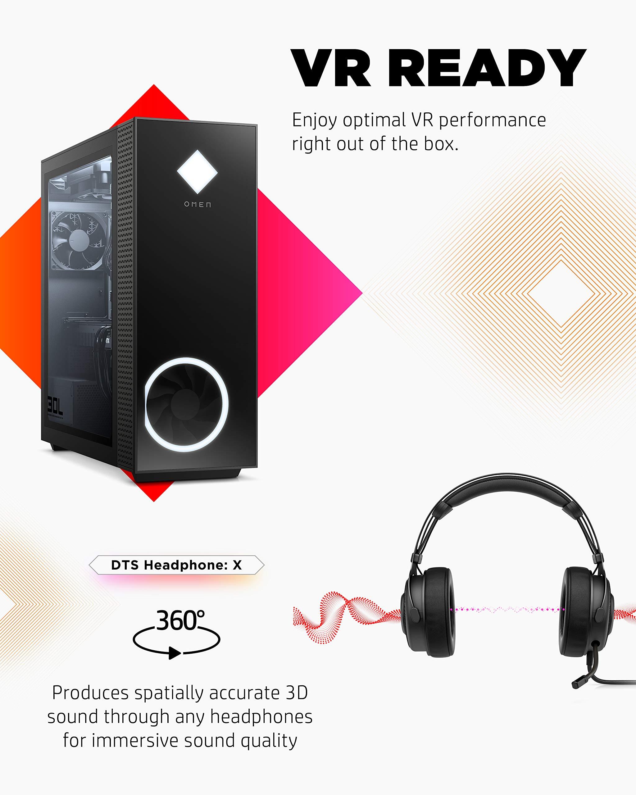 OMEN - GT13-0090 30L Gaming Desktop PC, NVIDIA GeForce RTX 3090 Graphics Card, 10th Generation Intel Core i9-10850K Processor, 32 GB RAM, 1 TB SSD, Windows 10 Home (GT13-0090, 2020) Shadow black