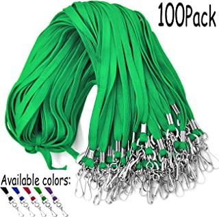 Lanyards 100 Pack Green Lanyards with Swivel Hook Clips for ID Name Badge Holder