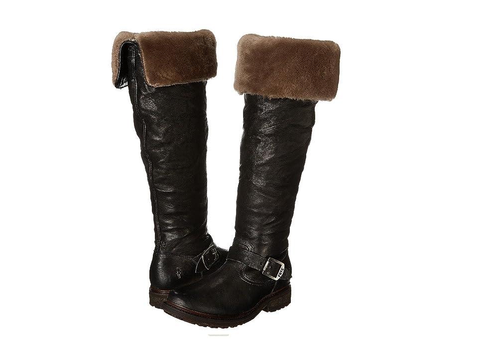 Frye Valerie OTK (Black Antique Soft Vintage/Shearling) Cowboy Boots