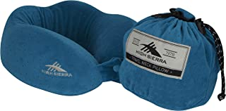 High Sierra - Ultra Compact Travel Pillow - Travel Friendly Compression Sack - 100% Soft Grade Memory Foam - Space Saver - Provides Exceptional Neck Support - Perfect for Flights & Road Trips Blue