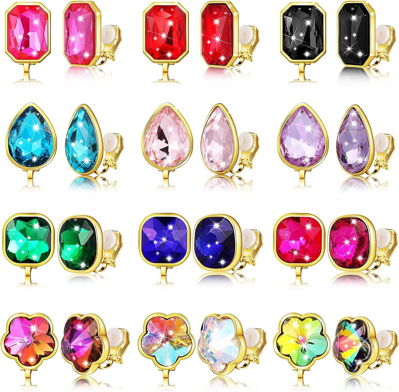 12 Pairs Clip on Earrings for Women Vibrant Color Birthstone Fake Earrings Glittering Clip-on Earrings Set for Women Girls