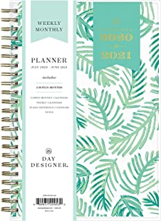 "Day Designer for Blue Sky 2020-2021 Academic Year Weekly & Monthly Planner, Flexible Cover, Twin-Wire Binding, 5"" x 8"", Palms"