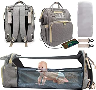 Diaper Bag Backpack with Changing Station, Waterproof Nappy Bag Mommy Backpack - Foldable Bassinet with Mosquito Net Sunsh...