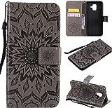 f�r Galaxy A6 2018 H�lle,Gepr�gte Muster Handy h�lle/Tasche / Cover/Case f�r das Samsung Galaxy A6 2018 PU Leder Flip Cover Leder H�lle Standfunktion Kredit Kartenf�cher (S) (1)