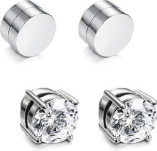 2-4 Pairs Stainless Steel Magnetic Stud Earrings for Men Women Non Piercing Clip on CZ Earrings 6-8MM
