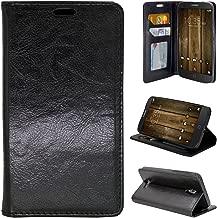 Alcatel Fierce 4 Case, Customerfirst - Design Premium Flip PU Leather Fold Wallet Pouch Case for Alcatel Pop 4 FREE emoji keychain + stylus (Black)