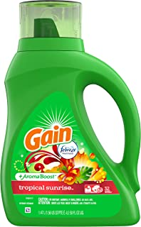 Gain + Aroma Boost Liquid Laundry Detergent with Febreze Freshness, Tropical Sunrise, 32 Loads 50 fl oz(Packaging May Vary)