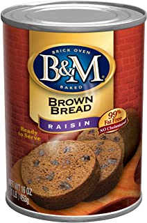 B&M Brown Bread, Raisin Bread, 16 Ounce (Pack of 12)