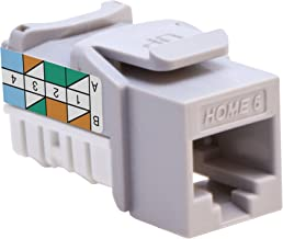 Leviton 61HOM-RG6 Home 6 Snap-In Connector, T568A/B Wiring, Grey