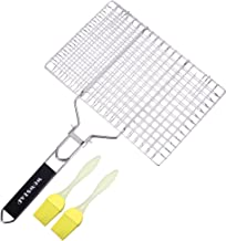WOWSTAR Portable 304 Stainless Steel BBQ Grilling Basket for Fish,Vegetables,Steak,Shrimp,Chops and Many Other Food.with Two Bonus Brushes.