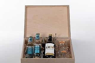 Ginkiste - Gin Geschenkset personalisiert - GinSTR Stuttgart Dry Gin | Tonic Water | Kristallgläser und mehr