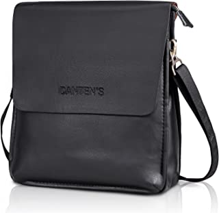 OFTEN Men Shoulder Bag,Leather Messenger Handbag Crossbody Bag for Men Purse iPad Bag for Business Office Work School(Vertical,Black)