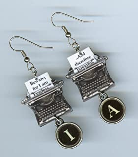 Typewriter Key earrings Mary Shelley Quote Beware for I am Fearless asymmetrical jewelry graduation gift