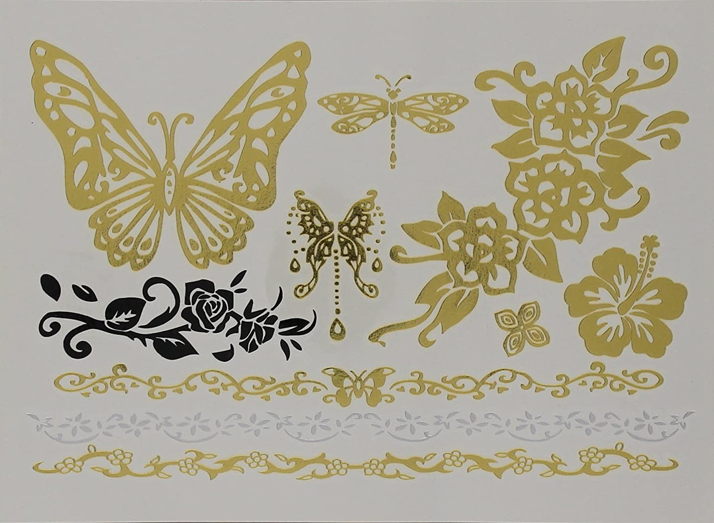 Wrapables A69326c Celebrity Inspired Temporary Romantic Butterfly Tattoos, Large, Metallic Gold Silver & Black