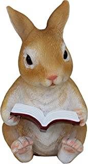 reading rabbit statue