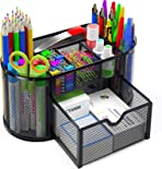 Pipishell Desk Organiser, Mesh Desk Tidy & Pen Holder with 8 Compartments and 1 Drawer, Stationery Organisers for Home, Office, School, Classroom, Workshop