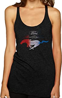 Ford Mustang USA Flag | Womens Planes/Trains/Automobiles Premium Tri-Blend Racerback Tank Top