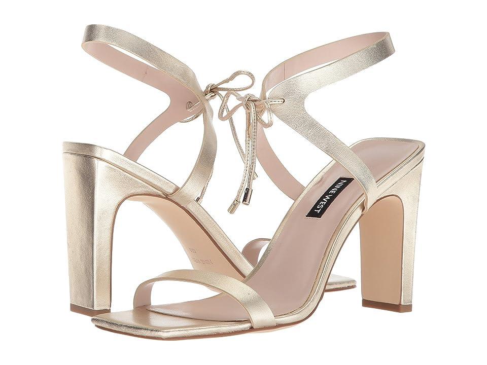 Nine West Longitano Heel Sandal (Light Gold Metallic) Women