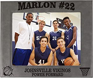 My Personal Memories Custom Engraved Basketball Sports Picture Frame Gifts - Monogrammed 4x6, 5x7, 8x10 Photo Frames for Athletes, Coaches, Teams, Kids, Awards (Gray)