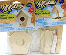 Set of 2 Kids DIY Woodshop Bird House and Bird Feeder - Easy To Assemble Activity Sets for Children