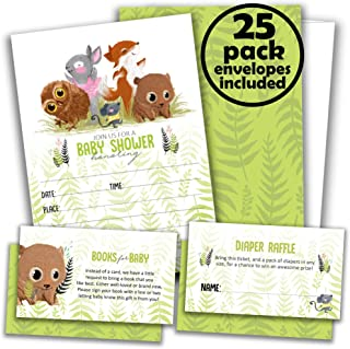 25 Woodland Baby Shower Invitations for Girl or Boy Plus Diaper Raffle Tickets & Books for Baby Request Cards with Envelopes - Invites by Whatabee
