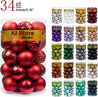 "KI Store 34ct Christmas Ball Ornaments Shatterproof Christmas Decorations Tree Balls for Holiday Wedding Party Decoration, Tree Ornaments Hooks Included 2.36"" (60mm Red)"