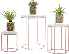 MyGift Geometric Vintage Rose Gold-Tone Metal Display Riser Stands, Set of 3