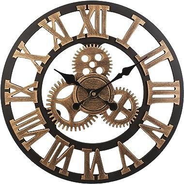 Soledì Horloge murale 3D à engrenages, en bois européen, style rétro, fabriquée main Colore Rame
