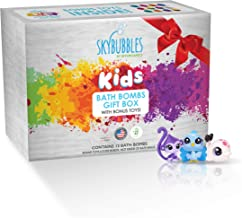 Kids Bath Bombs Gift Set with Surprise Toys (Loose in box), 12 x 3.2oz Fun Assorted Colored Bath Fizzies, Kid Safe, Gender Neutral with Natural Oils -Handmade in the USA Bubble Bath Fizzy