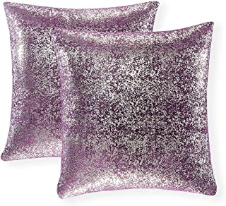 Set of 2, Throw Pillow Covers, Cushion Cases, Decorative Square Pillow Case, Slipover Pillowslip for Home Sofa Couch Chair Back Seat Bedroom Car, Invisible Zipper, 18 x 18 In (Silver- Lavender Purple)