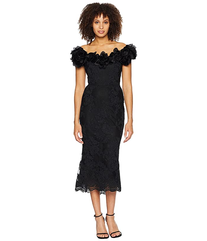 Marchesa Off the Shoulder Corded Lace 3D Floral on Velvet Dress (Black) Women's Dress