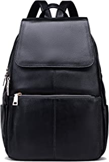 Coolcy Casual Women Real Genuine Leather Backpack (Black)