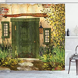 Ambesonne Rustic Shower Curtain, Cottage Door Overgrown Bushes Grass Tree Garden Brick Countryside, Cloth Fabric Bathroom Decor Set with Hooks, 75