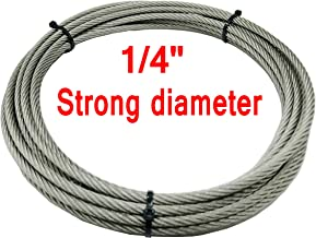1/4'' Bare OD 304 Stainless Steel Aircraft Wire Rope Military Specification, Lubricated, Car Traction,Lifting Rope Strong Wire Rope 7x19 Strand Core,26.3 Feet 6000 Pound Breaking Strength
