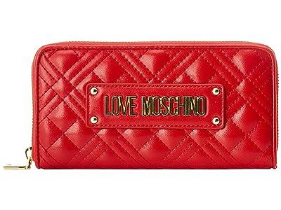 LOVE Moschino Quilted Zip Around Wallet (Red) Handbags
