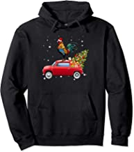 Chicken With Santa's Hat Riding Red Truck-Chicken Christmas Pullover Hoodie