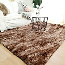 Modern Shaggy Rugs Fluffy Soft Touch Dazzle Sparkle Area Rug Carpet Large for Living Room Bedroom Floor Mat (Dark Coffee,2...