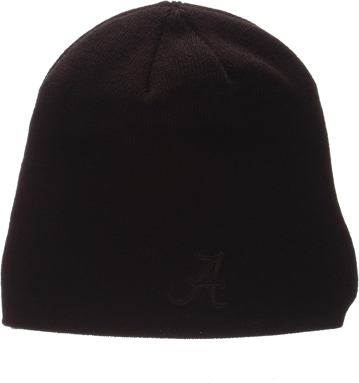 NCAA Cuffless Winter Knit Beanie Toque Hat Zephyr Blackout Edge Black Tonal Skull Cap