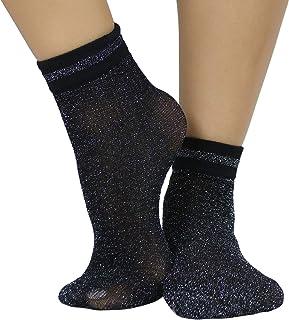 ToBeInStyle Women's Dazzling Shimmer Anklet Socks