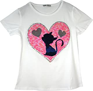 903574118aff5 Filles Chat Teddy Ours T-Shirt Penguin Tee Brosse Changement Sequin Age 3-14