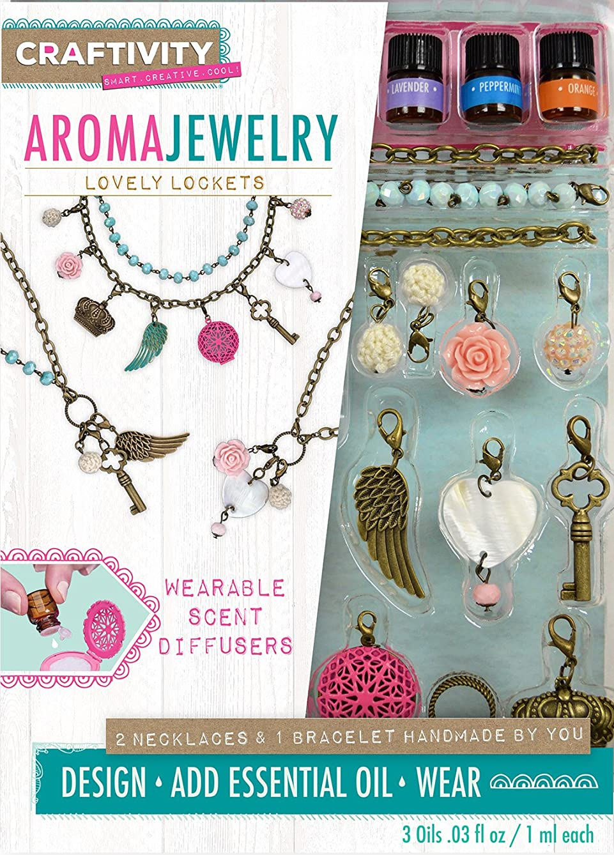 CRAFTIVITY AromaJewelry Lovely Lockets - Essential Oil Jewelry Making Kit